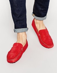 River Island Suede Loafers Red