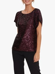 Gina Bacconi Lupe Stretch Sequin Top Wine