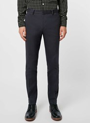 Topman Navy Cotton Twill Skinny Fit Trousers Blue