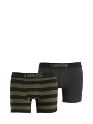 Levi's Underwear 2 Pack Stripes And Solid Boxer Briefs Green Black