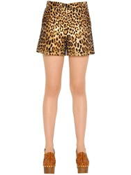 Red Valentino Leopard Cotton Blend Jacquard Shorts