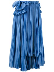 Rochas Mid Length Pleated Skirt Women Silk Cotton 42 Blue