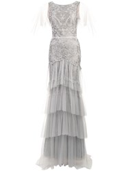 Marchesa Notte Flutter Sleeve Metallic Embroidered Gown Grey