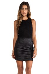 Nightcap Vegan Leather And Lace Dress Black