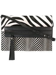 Elena Ghisellini Zebra Print Shoulder Bag Black