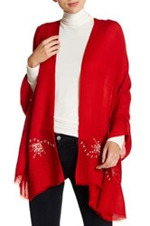 Saachi Beaded Merino Wool Wrap Red