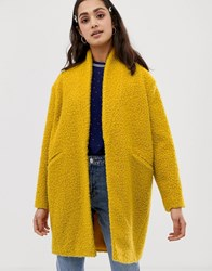 Miss Selfridge Texture Coat In Yellow