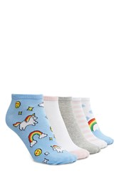 Forever 21 Rainbow Ankle Sock 5 Pack Blue Multi