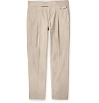 Caruso Tapered Pleated Cotton Blend Corduroy Trousers Beige