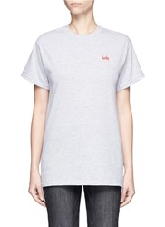 Double Trouble 'Lucky' Slogan Embroidered T Shirt Grey