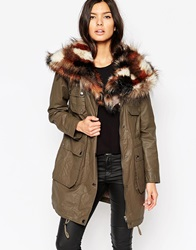 Urbancode Parka With Patchwork Faux Fur Collar Khaki