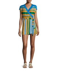 Diane Von Furstenberg Striped Wrap Mini Dress Blue Orange Green Multi Pattern