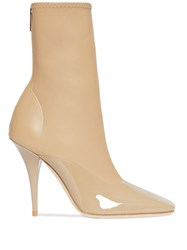 Burberry Lambskin And Patent Leather Ankle Boots Neutrals