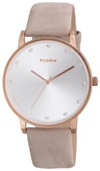Pilgrim Classic Rose Gold And Grey Crystal Watch Grey