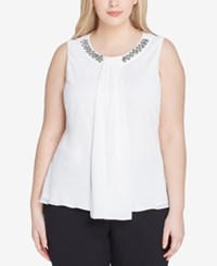 Tahari By Arthur S. Levine Asl Plus Size Embellished Pleat Front Shell Ivory White
