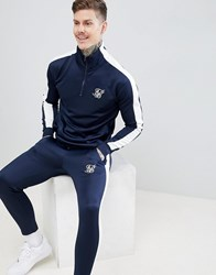 Sik Silk Siksilk Cropped Jogger In Navy With White Side Stripe
