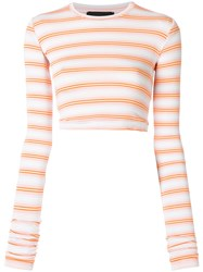 Diesel Black Gold Extended Sleeve Round Neck Crop Top Yellow And Orange