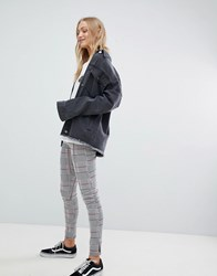 Daisy Street High Waist Slim Trousers In Check Grey Check
