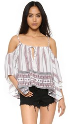 Glamorous Boho Blouse White Tribal Border