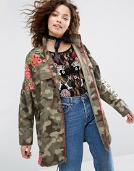 House Of Holland H By Henry Camo Jacket With Floral Embroidery Khaki Green