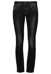 Amor Trust And Truth Kate Straight Leg Jeans Dark Blue Green Tinted