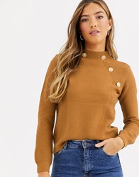 River Island Turtleneck Sweater With Gold Buttons In Toffee Brown