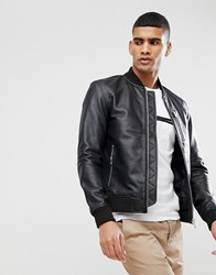 Selected Homme Leather Bomber Black