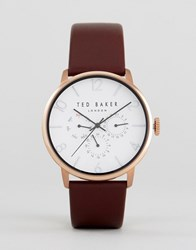 Ted Baker James Chronograph Leather Watch In Brown Brown