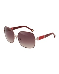 Carolina Herrera Metal Oversized Square Sunglasses Pink
