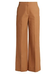Elizabeth And James Maslin High Rise Wide Leg Cotton Trousers Beige