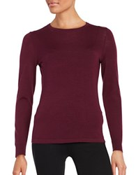 Lord And Taylor Petite Crewneck Merino Wool Sweater Raspberry Wine