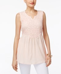 Style And Co Co. Empire Waist Split Neck Top Only At Macy's Crushed Petal
