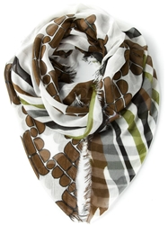 Woolrich Fringed Printed Scarf White