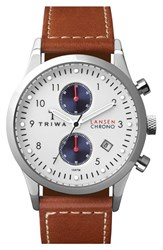 Men's Triwa 'Lansen' Chronograph Leather Strap Watch 38Mm Brown White