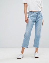 Esprit Straight Fit Distressed Jeans Light Blue
