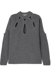 Antonio Berardi Cutout Ribbed Wool And Cashmere Blend Sweater Gray