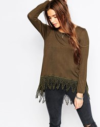 Vintage Havana Sweater With Lace Trim Olive