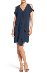 Adrianna Papell Women's Cold Shoulder Draped Shift Dress Dusk Navy