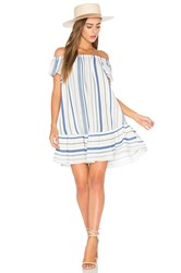 Eight Sixty Off Shoulder Stripe Dress Blue
