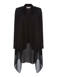 Label Lab Lightweight Cardi With Chiffon Hem Black