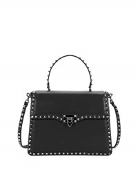 Valentino Rockstud Medium Leather Top Handle Satchel Bag Black