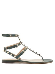 Valentino Rockstud Flat Leather Sandals Dark Green