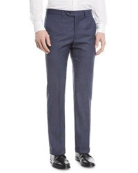 Emporio Armani Textured Wool Flat Front Trousers Blue