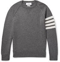 Thom Browne Striped Cashmere Sweater Gray