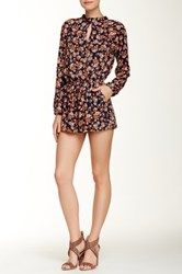 Necessary Objects Long Sleeve Keyhole Romper Multi