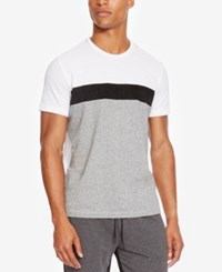 Kenneth Cole Reaction Men's Colorblocked T Shirt With Faux Suede Stripe White