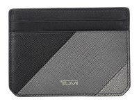 Tumi Mason Slim Card Case Id Grey Pieced Leather Credit Card Wallet Black