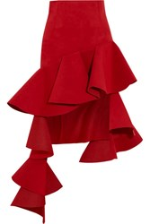 Jacquemus Ruffled Asymmetric Brushed Twill Mini Skirt Red