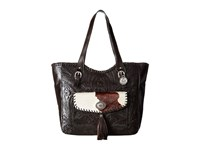 American West Annie's Secret Collection Large Zip Top Tote Chocolate Pony Hair Tote Handbags Black