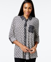 Styleandco. Style And Co. Petite Printed Button Front High Low Blouse Only At Macy's Pam Geo